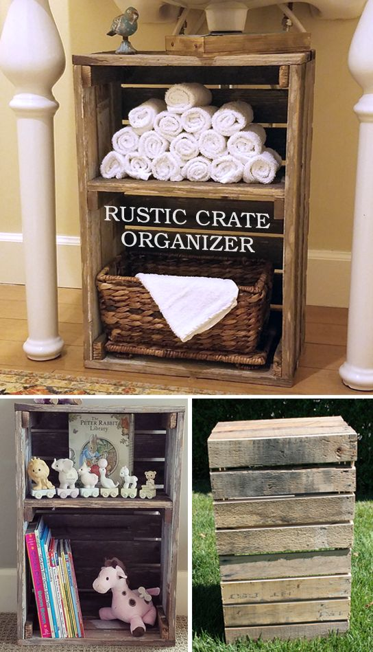 Rustic Crate Bathroom Organizer / Kids Book & Toy Storage.  Great reclaimed wood.  Super practical storage idea.  https://www.etsy.com/listing/454959884/rustic-storage-book-shelf-display-crate