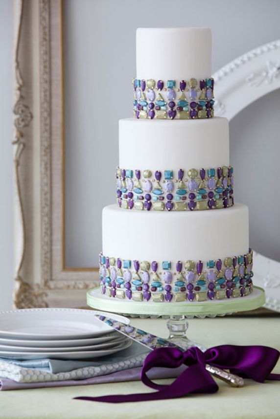 Stunning Picture of Wedding Cake with Purple  Turquoise Jewels