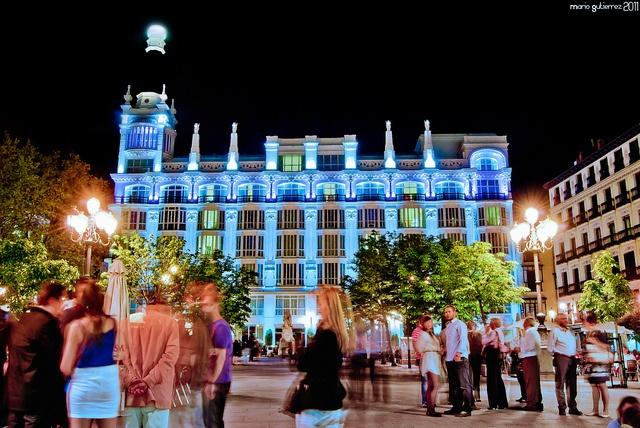 Madrid at night.    Plaza de Santa Ana at night. Madrid, Spain.
