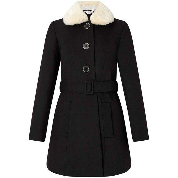 Miss Selfridge PETITE Black Fur Collar Coat ($135) ❤ liked on Polyvore featuring outerwear, coats, black, petite, faux fur collar coats, petite coats, miss selfridge coats and miss selfridge
