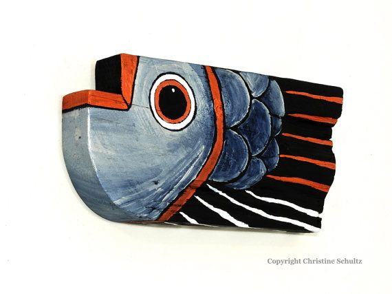Wood Fish Painted Silver on Reclaimed Wood Original by TaylorArts