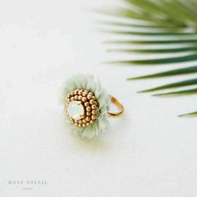 Rose Soleil Jewelry Tropical Sky Collection | ローズソレイユジュエリー ✧ シルククリスタルリング ✧ トロピカルスカイコレクション