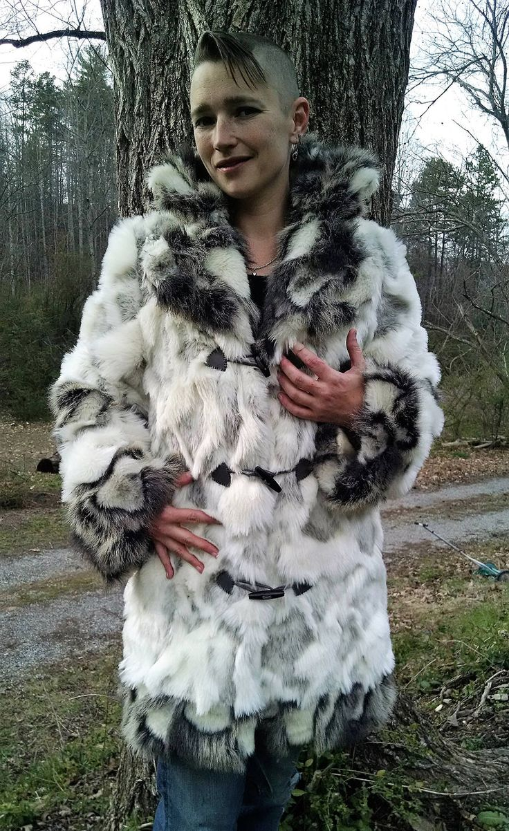 Creamy WHITE Textured Faux Rabbit FUR COAT with Grey Contrast Faux Rabbit Fur Trim by FrolickerFashions on Etsy