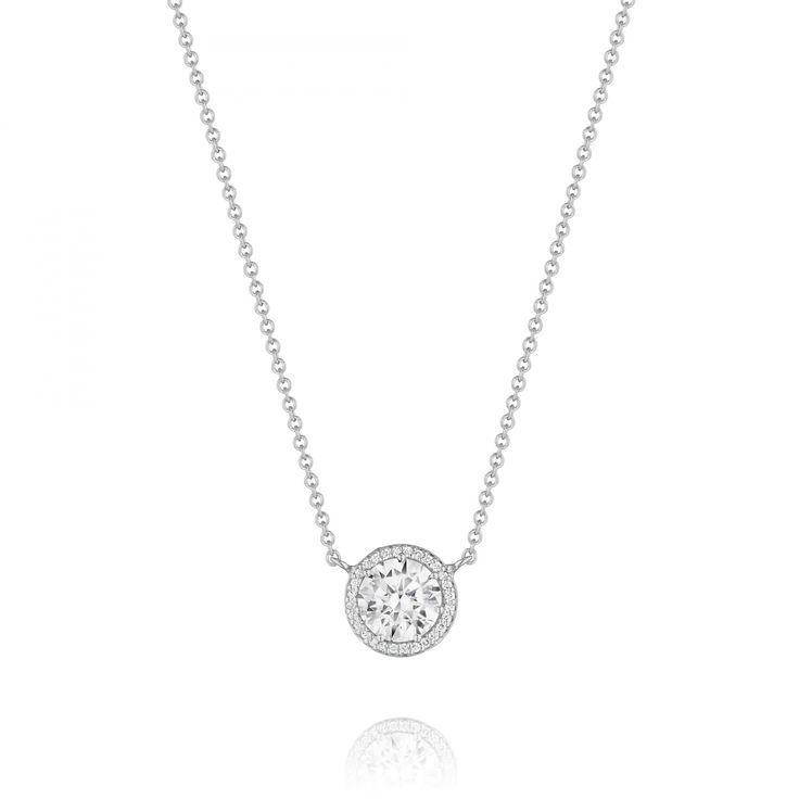 Small Silver Diamond Drop Necklace
