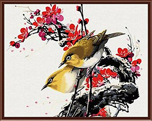 YEESAM ART New Release Paint by Number Kits for Adults Kids  Bird and Flower Fragrant 16x20 inch Without Frame ** Want to know more, click on the image.