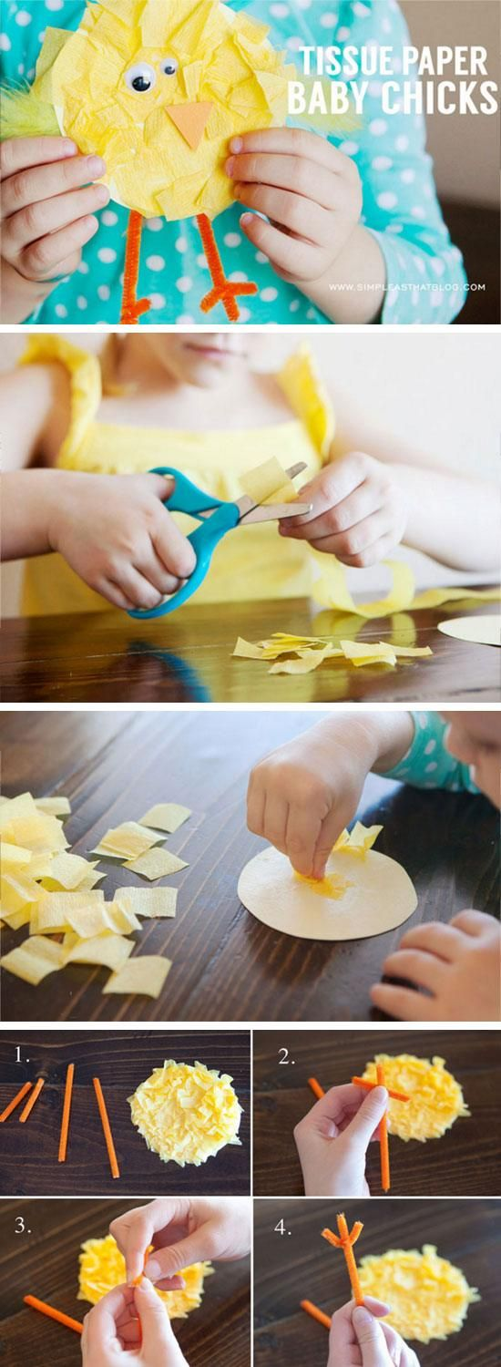 Tissue Paper Baby Chicks | Easy Easter Crafts for Kids to Make