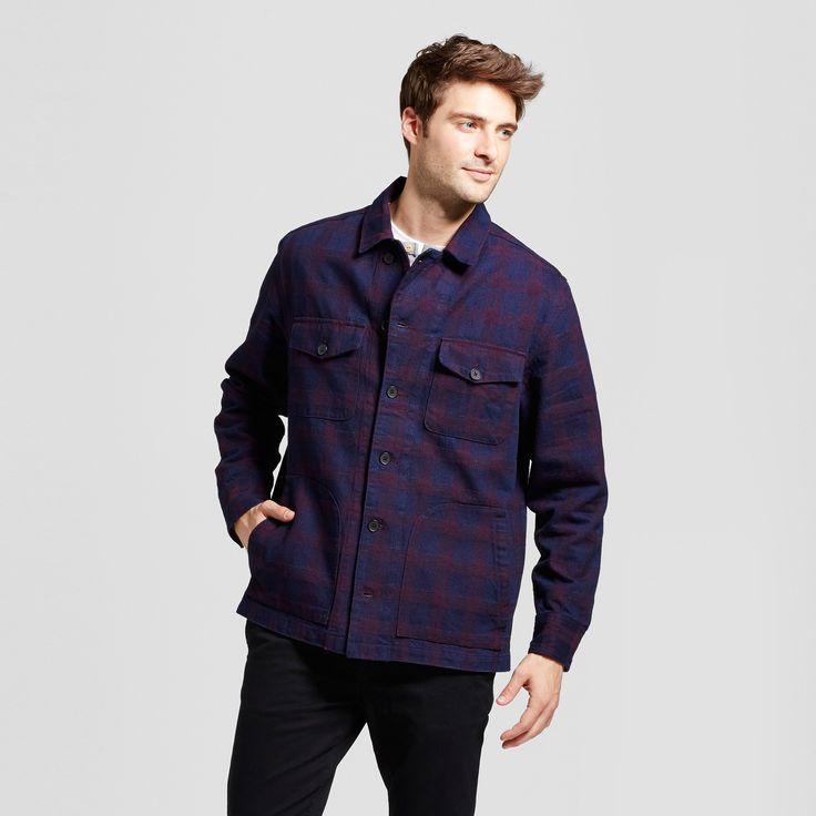 Men's Standard Fit Herringbone Shirt Jacket - Goodfellow & Co Indigo/Burgundy Plaid Xxl, Purple