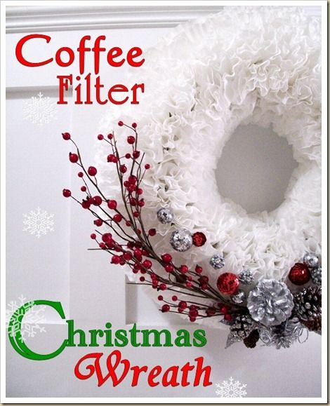 Coffee Filter Christmas WreathHoliday, Christmas Wreaths, Christmas Crafts, Coffee Filter Wreath, Gift Ideas, Coffe Filters Wreaths, Coffee Filters Wreath, Filters Christmas, Christmas Ideas