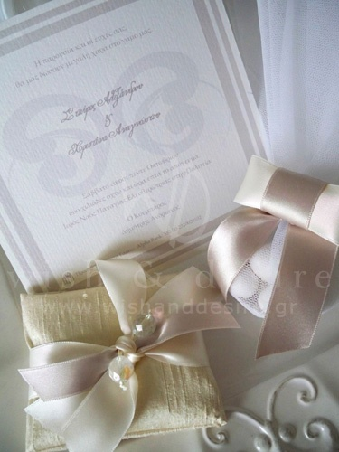 μπομπονιερες γαμου με γαλλικό τούλι και φιογκο & προσκλητηριο γαμου λευκό γκρι