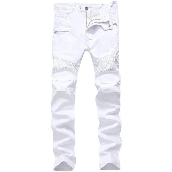 Men's White Biker Jeans Slim Straight Stretch Skinny Fit Moto Denim... ❤ liked on Polyvore featuring men's fashion, men's clothing, men's jeans, mens slim straight jeans, mens super skinny stretch jeans, mens white skinny jeans, mens slim fit stretch jeans and mens super skinny jeans