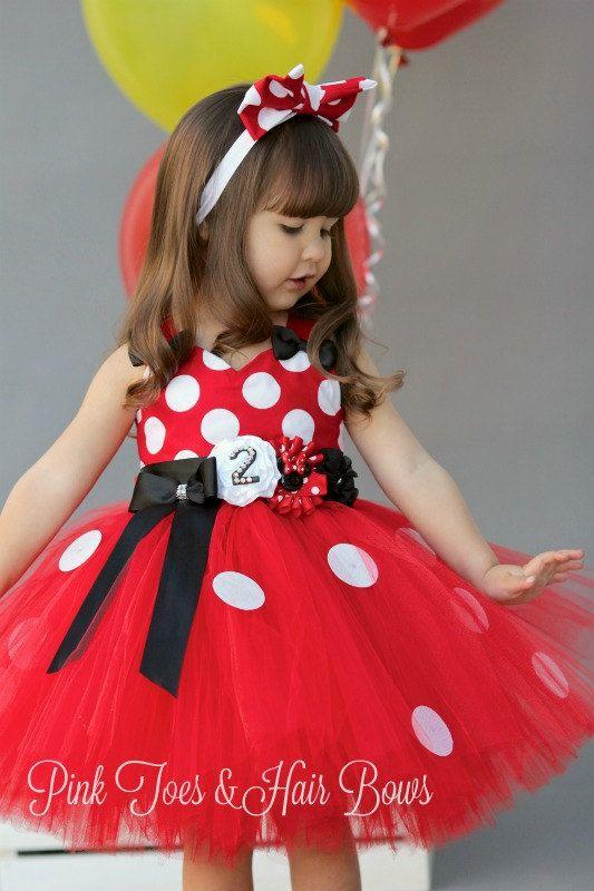 Vestido rojo Minnie Mouse Tutu clásico vestido rojo Minnie
