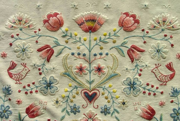Beautiful Swedish antique embroidery on wool.