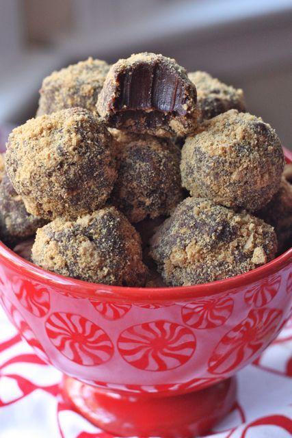 Gingerbread Truffles (Heavy Cream, Semi-Sweet chocolate, Powdered Ginger, Cinamon Gringerbread Men Cookies or Ginger Snaps.) A Beautiful Bite