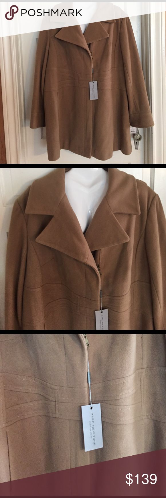 ☘️NWT Andrew Marc Wool/Cashmere Camel Coat. 3X ☘️NWT Andrew Marc Wool/Cashmere Camel Coat. 3X.  Brand spanking new. Front zipper. Great detail on the front. Front inset pockets. Great pea coat length. $315 retail.   True to size. Andrew Marc Jackets & Coats Pea Coats