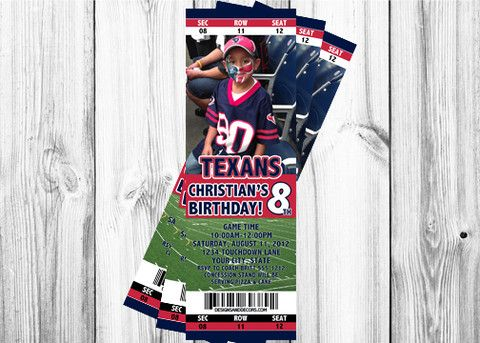 Texas Texans Ticket Invitation