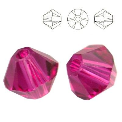 5328 Bicone 3mm Fuchsia 10pcs  Dimensions: 3,0mm Colour: Fuchsia 1 package = 10 pieces