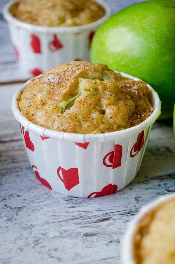 Zucchini Cinnamon Apple Muffins are so moist due to zucchini, apple puree and yogurt. Cinnamon sugar topping makes a great twist on these! | giverecipe.com
