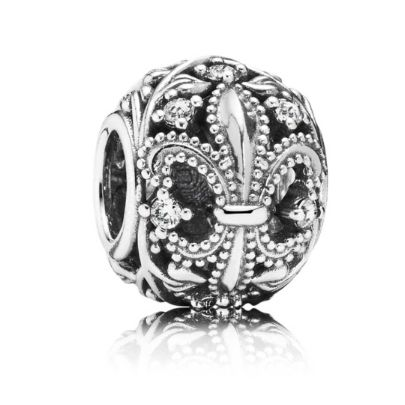 Pandora Silver Cubic Zirconia Open Fleur De Lis Charm 791378CZ. New from the PANDORA Autumn 2014 Collection, is this stunning sterling silver Fleur De Lis design bead. This dazzling Charm has been adorned with beautiful cubic zirconias, sure to add a touch of sparkle to your bracelet.
