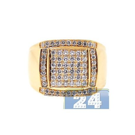 Buy Online Luxury 14K Yellow Gold 1.38 ct Diamond Mens Signet Ring. Appraised, free USA shipping, 30 days to return.