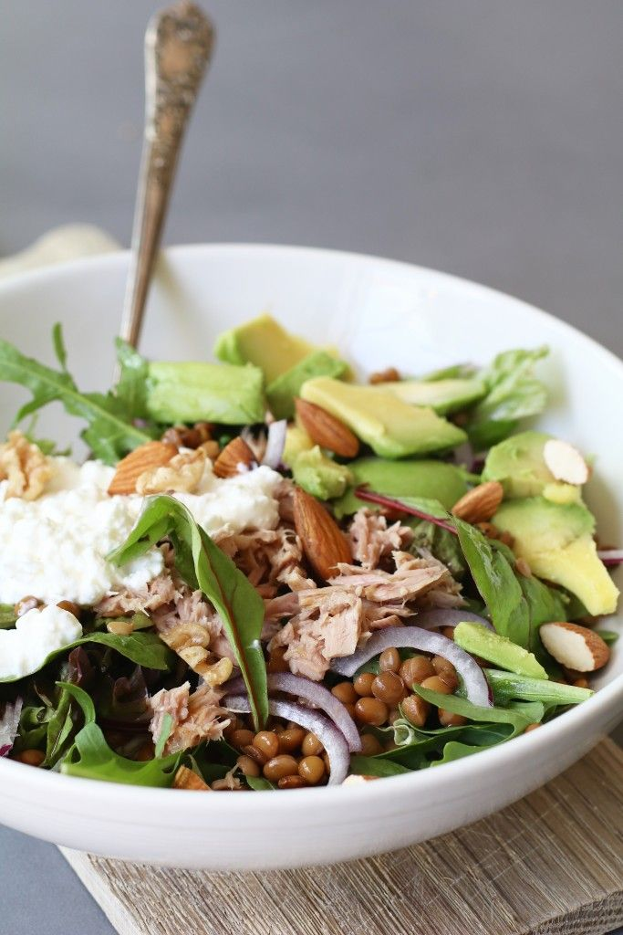 Linzensalade met avocado, hüttenkäse en tonijn | Beaufood | Bloglovin'