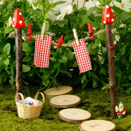 Twig Clothes Line for the fairy garden