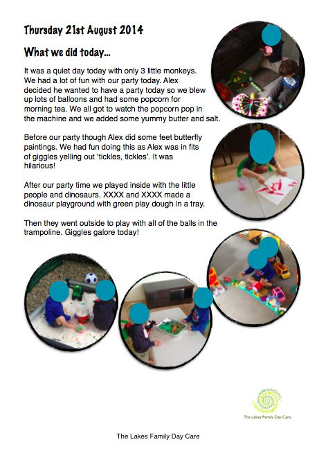 What we did today.... Template for our daily write-up for parents in my Family Day Care.