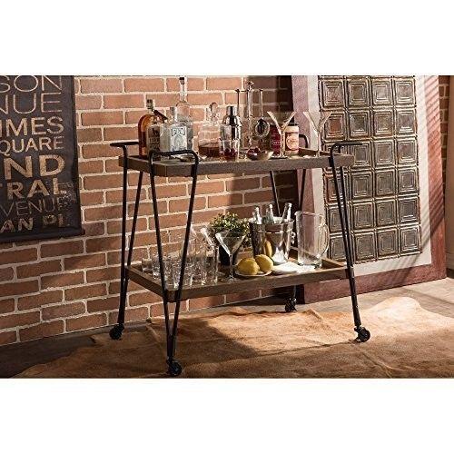 Industrial Serving Cart Vintage Rustic Mobile Kitchen Bar Metal Wood Wine Rack #IndustrialServingCart #Industrial