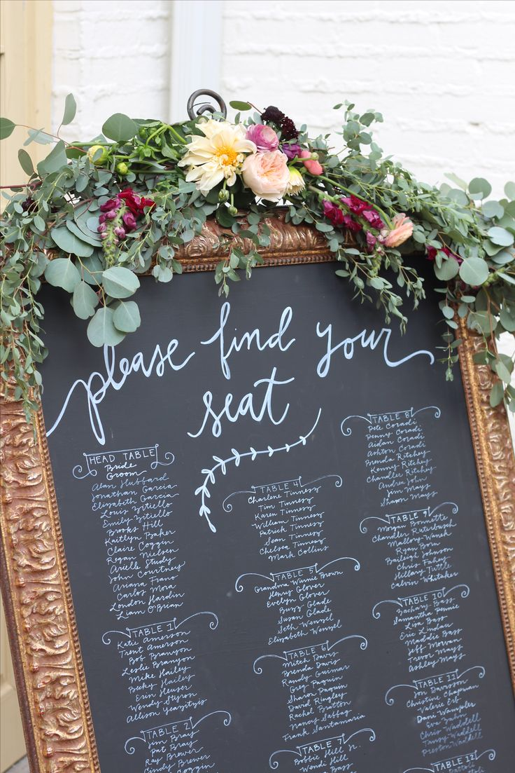 Chalk Board | Seating chart | Wedding Flowers