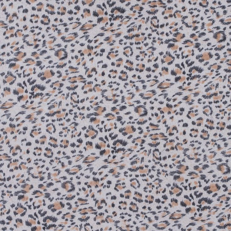Beige/Black/White Abstract Leopard Spots on a Polyester Chiffon