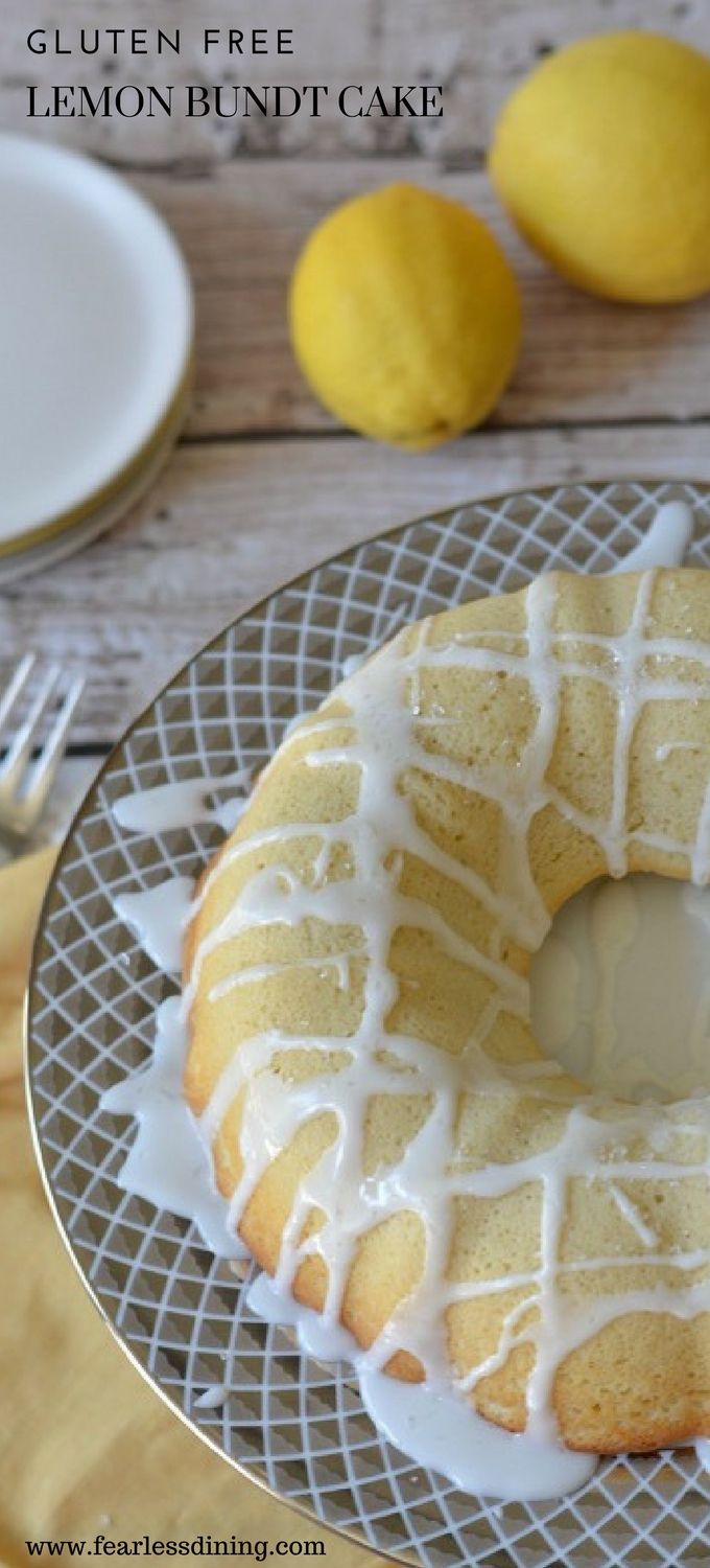 If you love fresh lemon flavor, this easy Gluten Free Lemon Bundt Cake is a recipe to try! This gluten free cake is moist and delicious...and the lemon glaze drizzle makes this a versatile cake recipe to try! Recipe at www.fearlessdining.com #bundt #glutenfreecake #glutenfreedessert #lemon