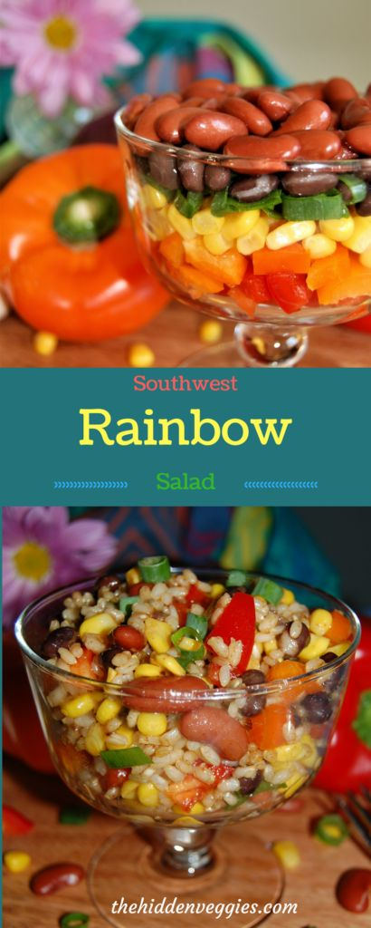 Southwest Rainbow Salad is vegan, gluten free, dairy free, and soy free – but most importantly delicious!  A fun flavorful bean salad. thehiddenveggies.com