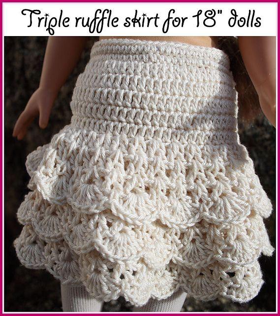 "Ravelry: triple ruffle skirt for American girl 18"" dolls pattern by Annastasia Cruz"