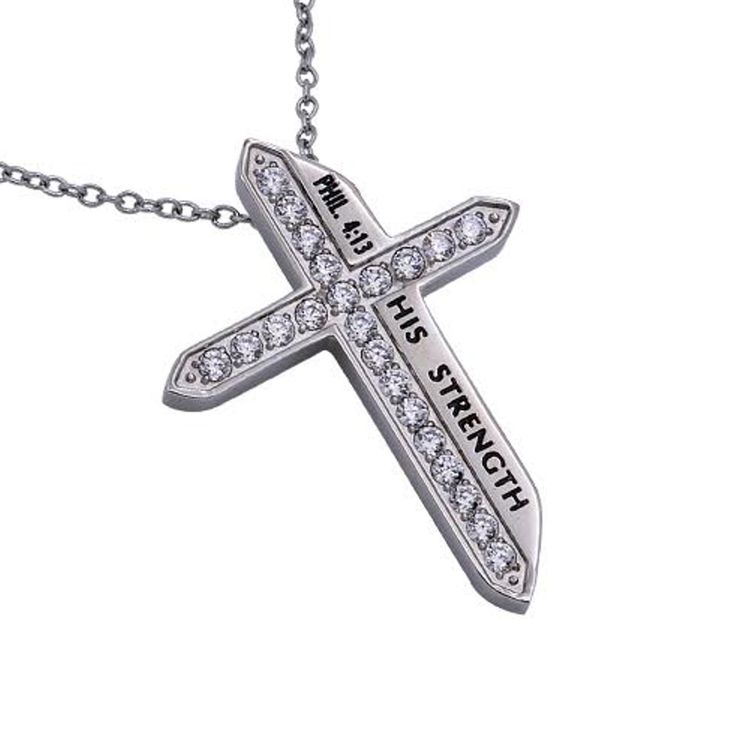 HIS STRENGTH Philippians 4:13, Sword of the Spirit Cross Necklace, Stainless Steel