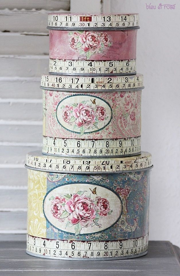 Shabby Chic Lovely decorated boxes of three different sizes with complimenting fabrics and roses.