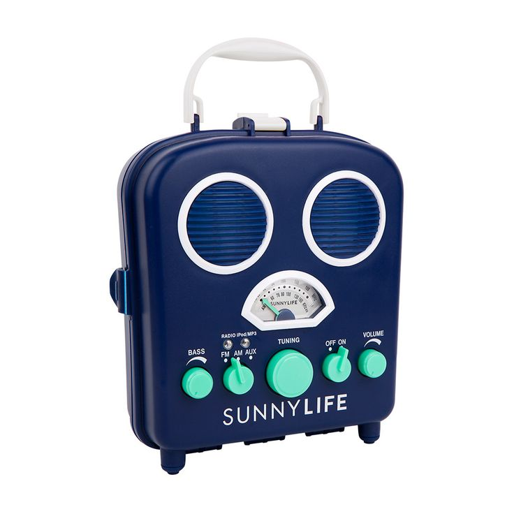 Back in Stock! BEACH SOUNDS BLUE and GREEN RADIO Sand and water resistant radio that opens up to hold your smartphone or mp3 player. Listening to music on the beach or at the park never looked cuter or sounded better. Made by Sunnylife Australia and sold by Bonjour Fete - boutique party supplies.