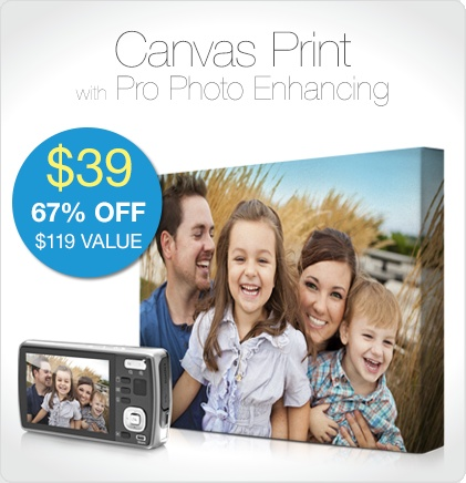 Make your personal photos into a 16x20 photo canvas. Great for gifts!
