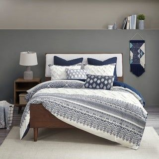 The Curated Nomad Natoma Navy Cotton Chenille Printed Comforter Set | Overstock.com Shopping - The Best Deals on Comforter Sets