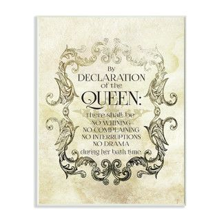 Stupell Industries By Declaration of the Queen Typography Graphic Art Plaque