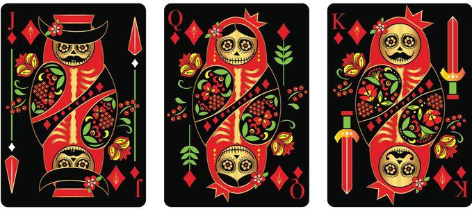 Diamonds court cards from CALAVERAS DE AZÚCAR Playing Cards Deck that is currently on Kickstarter.    https://www.kickstarter.com/projects/393497409/calaveras-de-azucar-playing-cards
