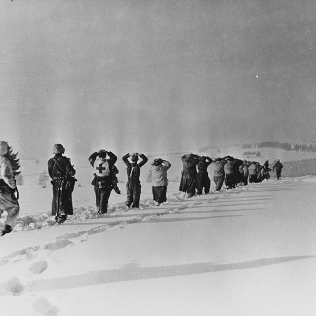 Men from the 359th Infantry Regiment escort some German prisoners of war captured in Doncols. The picture was taken near the village of Berlé on January 11th 1945 (NARA - Danny Parker). #ww2weapons #ww2history #battleofthebulge #ww2 #warpics #warhistory #worldwar2 #worldwar #worldwarii #worldwartwo #usarmy #wwii #wwiimemorial #bandofbrothers #currahee #tanks #ww2tanks #history #war #veterans #relics #metaldetecting #historian #airborne #1944 #bastogne