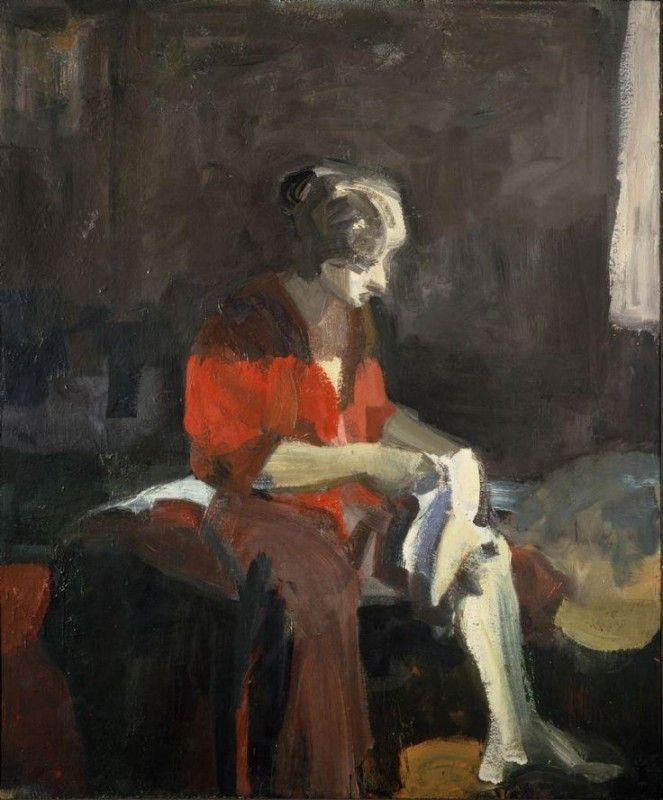 Elmer Bischoff (American, Bay Area Figurative Movement, 1916–1991): Woman Dressing, 1959. Oil on canvas. © Estate of Elmer Bischoff. © This artwork may be protected by copyright. It is posted on the site in accordance with fair use principles.