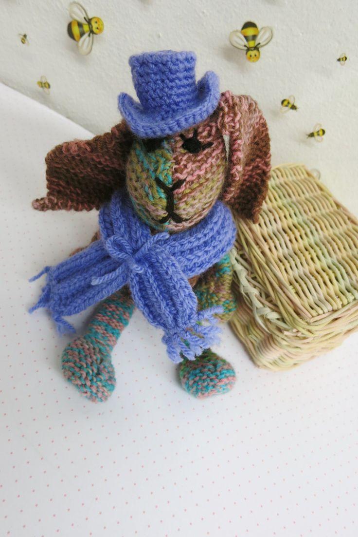 Rag Doll Bunny Gentleman/ bunny toy/soft toy/gift/unique/knitted/ nursery decoration by YaGrashka on Etsy