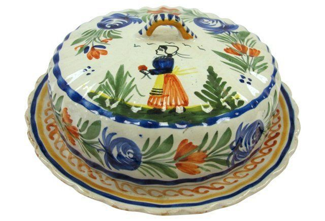 Quimper covered butter dish, c. 1910-1950