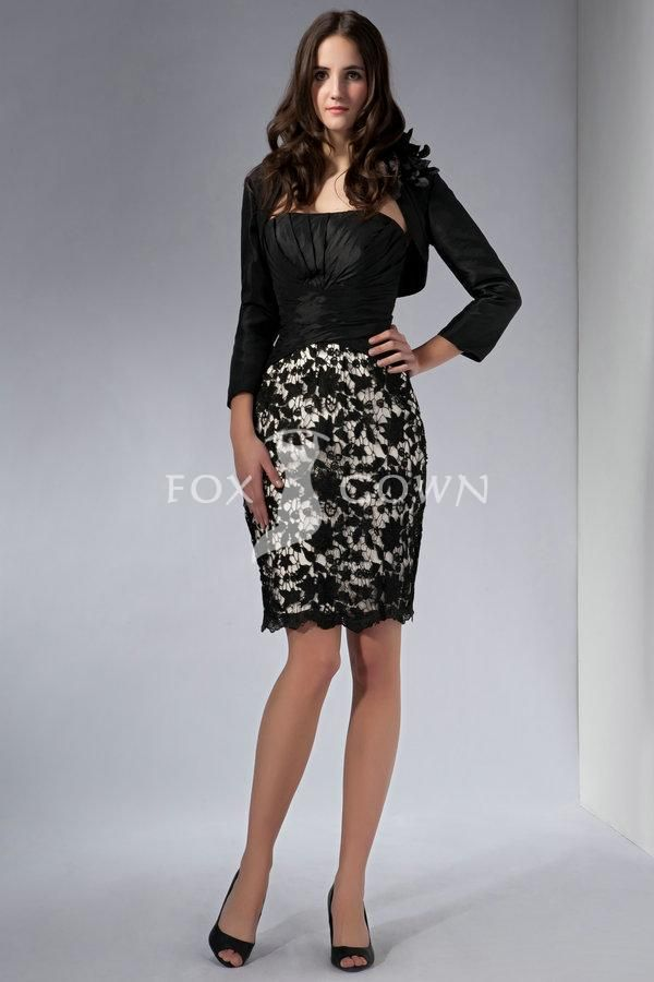 Black Strapless Short Sheath Ruched Bodice Lace Applique Overlay Skirt Formal Dress With Jacket