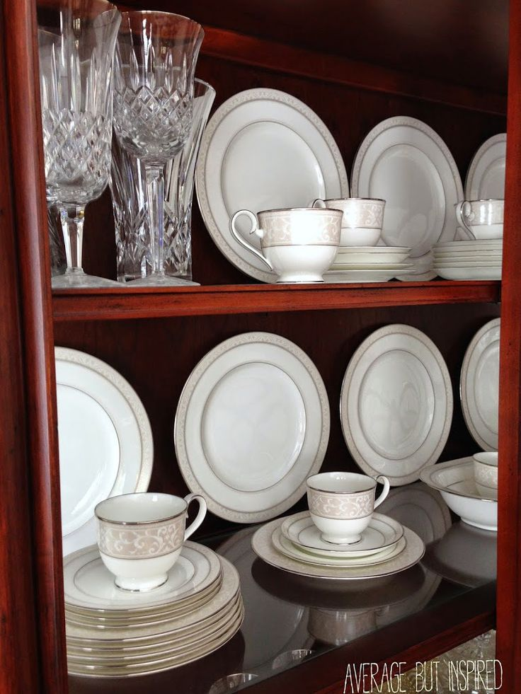 How to arrange a china cabinet. Tips from Average But Inspired.