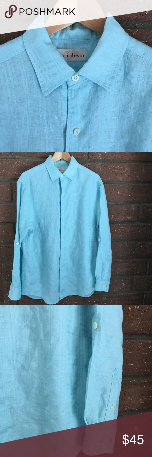 """🆕 Light Blue Linen Dress Shirt Light blue long sleeve or roll up with buttoned tab casual dress shirt. Woven material content is 88% Linen & 12% Cotton. Measurements flat are 22.5"""" pit to pit & 30"""" long. In excellent condition with NO spots or damage. Caribbean Shirts Casual Button Down Shirts"""