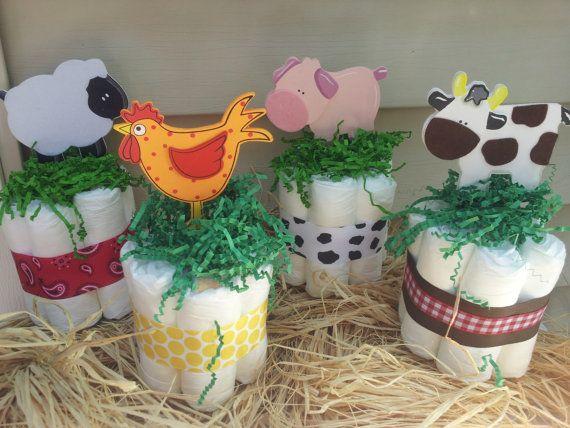 4 Farm theme mini diaper cakes, baby shower centerpiece