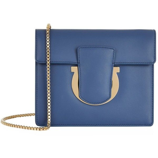 Salvatore Ferragamo Small Thalia Clutch Bag (28.350 UYU) ❤ liked on Polyvore featuring bags, handbags, clutches, blue clutches, evening purses, chain strap handbags, cocktail purse and blue purse