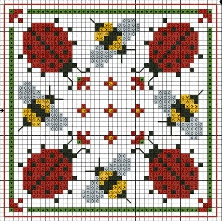 free cross stitch chart; ladybugs and bees square cross stitch; very cute; will stitch up quickly.