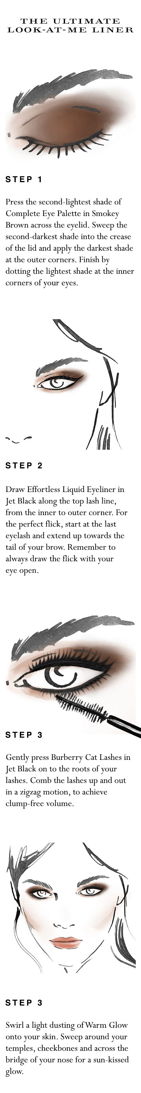 Your easy to follow make-up 'how to' for the ultimate look-at-me eye liner in 15 minutes. Shop the complete look at Sephora.com and explore new Burberry Cat Lashes.